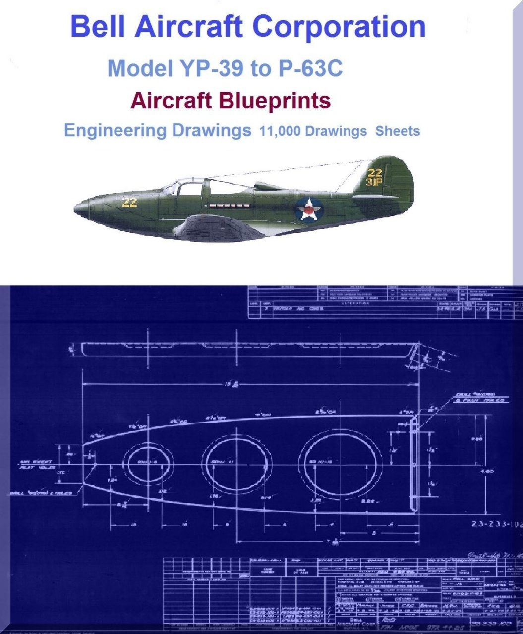 Bell aircraft corporation model p 39 to p 63 aircraft blueprints bell aircraft corporation model p 39 to p 63 aircraft blueprints engineering drawings on dvds malvernweather Choice Image