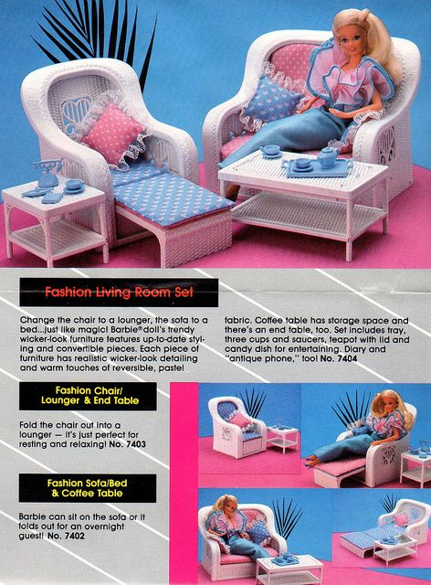 Barbie Living Room by Barbie Creations, via Flickr. That Barbie has a cool outfit! They just don't make them like in the 80's!.....