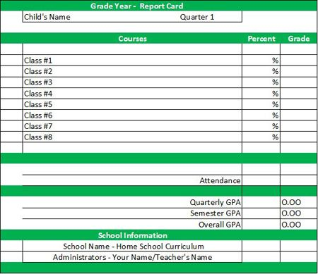 Report Card Template Home School - Record Keeping Pinterest
