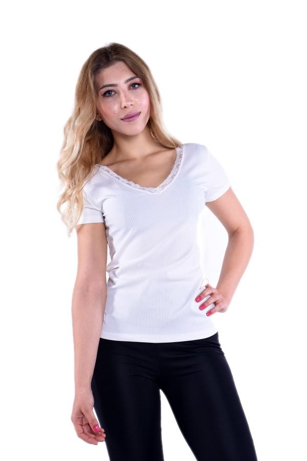 V Yaka Dantelli Beyaz T Shirt 80131 Kapida Odemeli Ucuz Bayan Giyim Online Alisveris Sitesi Modivera Com V Yaka Tisort Giyim
