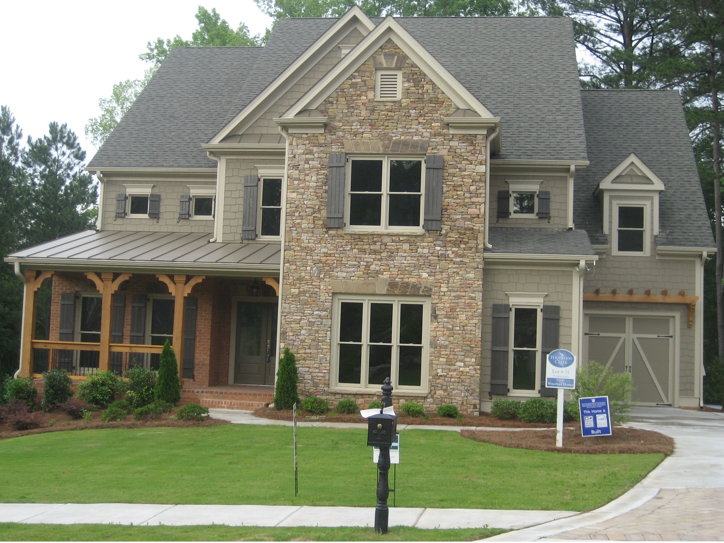 Craftsman with stone front elevations atlanta georgia for Atlanta craftsman homes