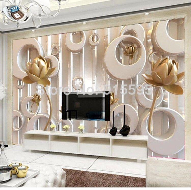 Wallpaper 3D Lotus Flower European Style Art Wall Painting Living Room TV Unbranded Modern