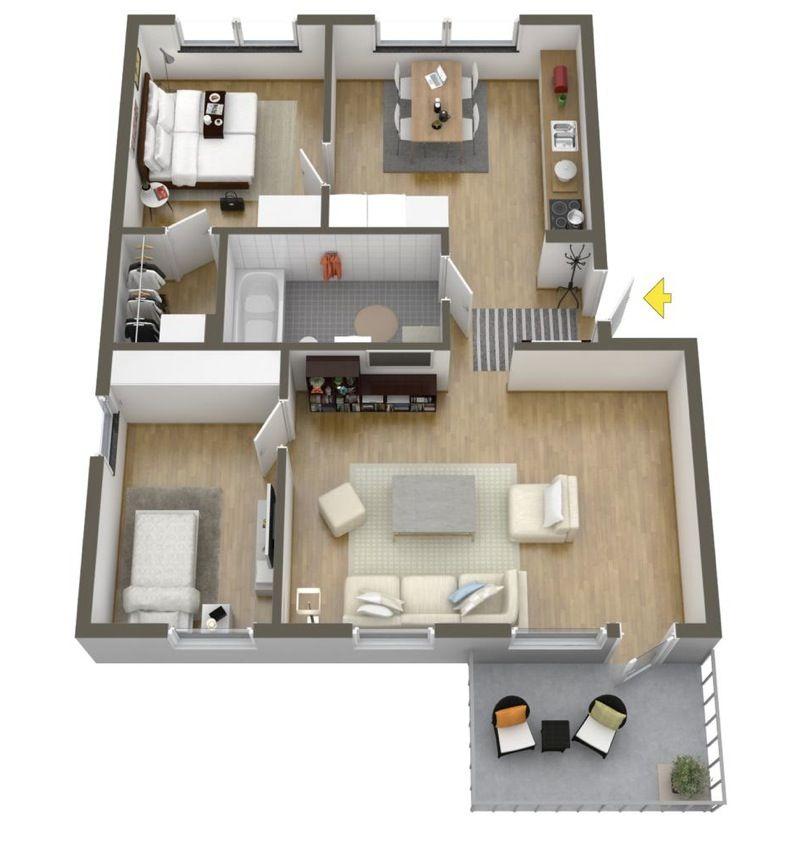 Planos de departamentos de dos dormitorios selecci n de for Departamentos pequenos planos
