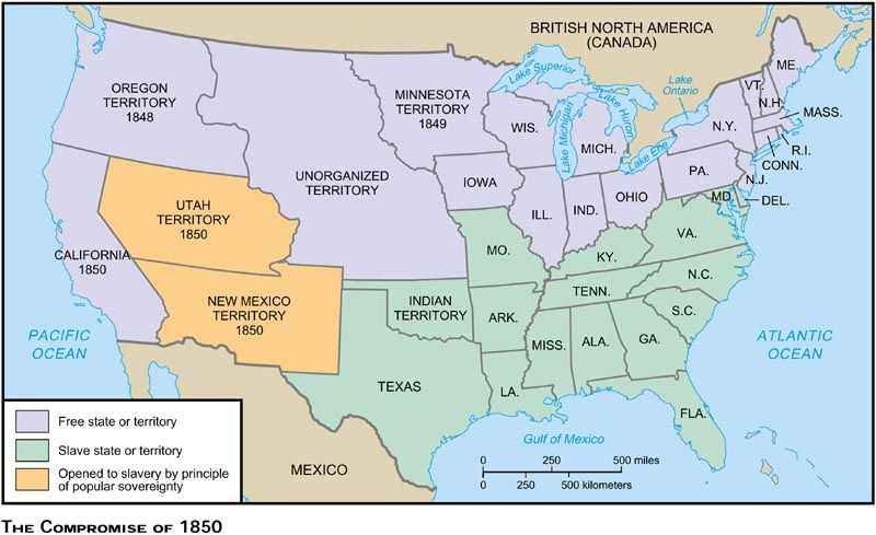 This Compromise Admitted California As A Free State Along With - Blank us map with territories