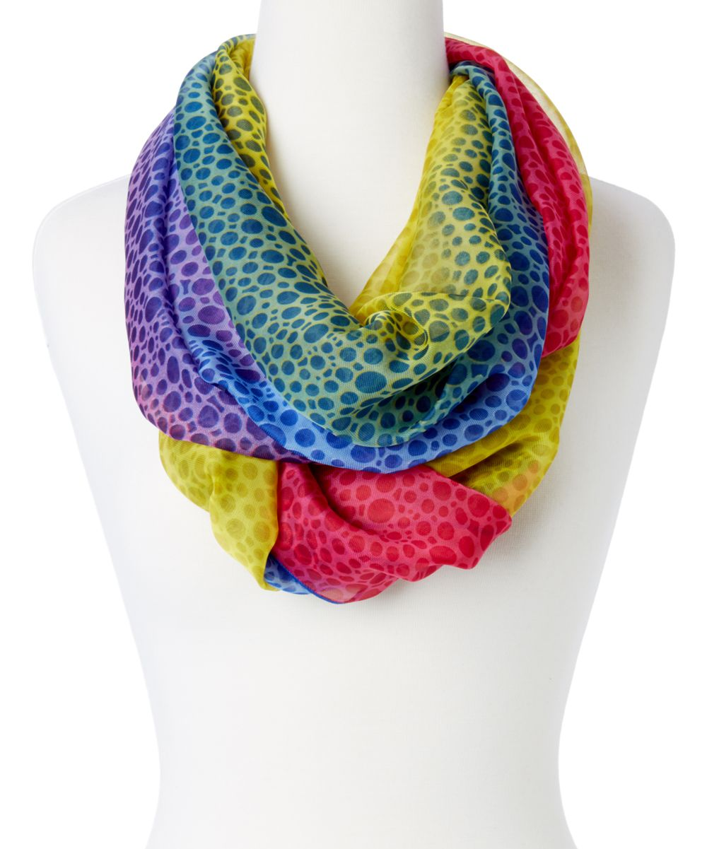Fuchsia & Blue Color Block Infinity Scarf