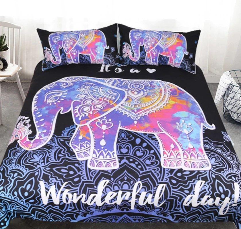 Bohemian Elephant Bedding Set Single Queen Size Duvet Cover Lotus Flower Bed Cov
