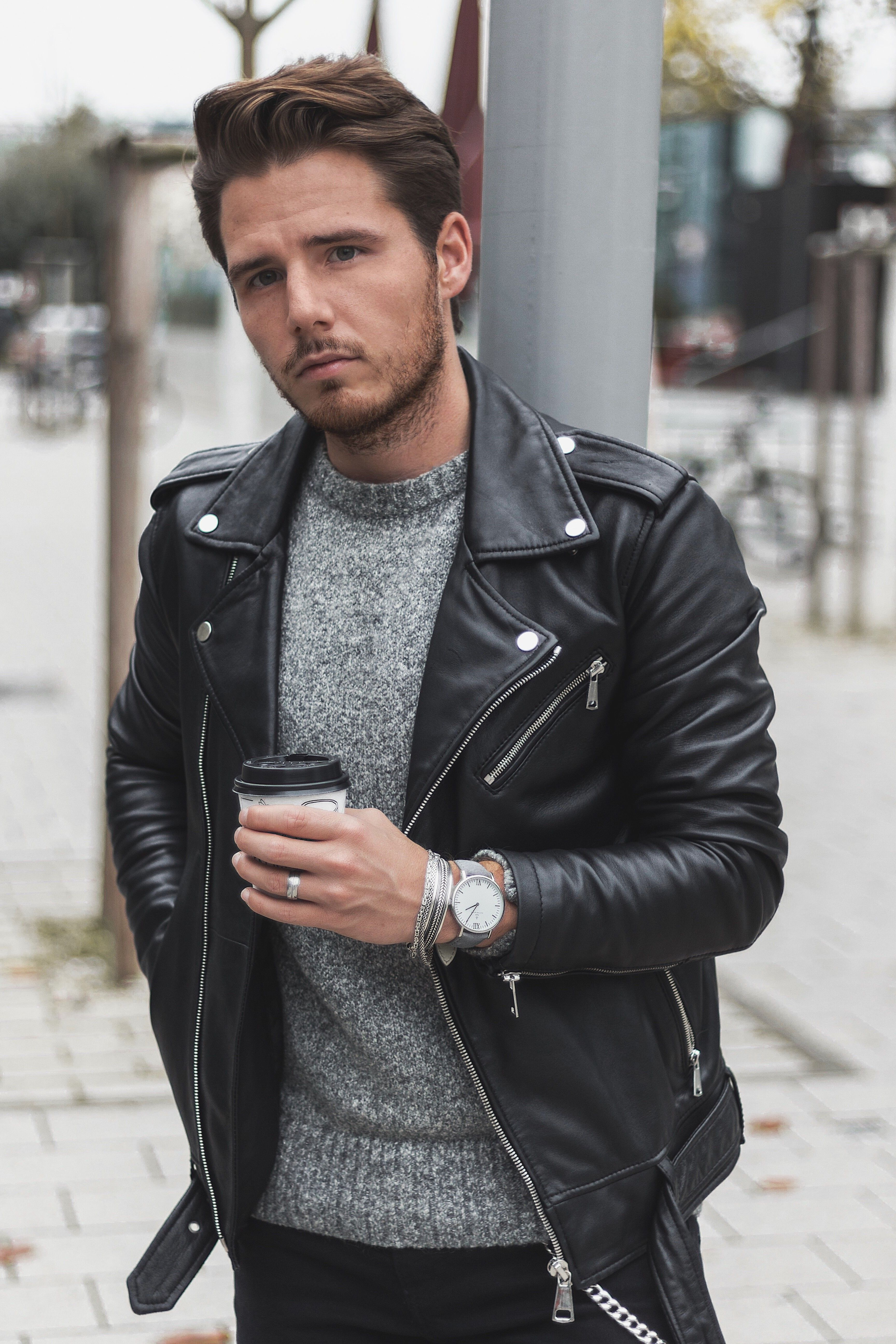 Watch For Him Outfit Inspiration Black Leather Jacket Grey Knit Gift Ide Leather Jacket Outfit Men Black Leather Jacket Men Black Leather Jacket Outfit