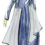 long dress womans fashion sketch