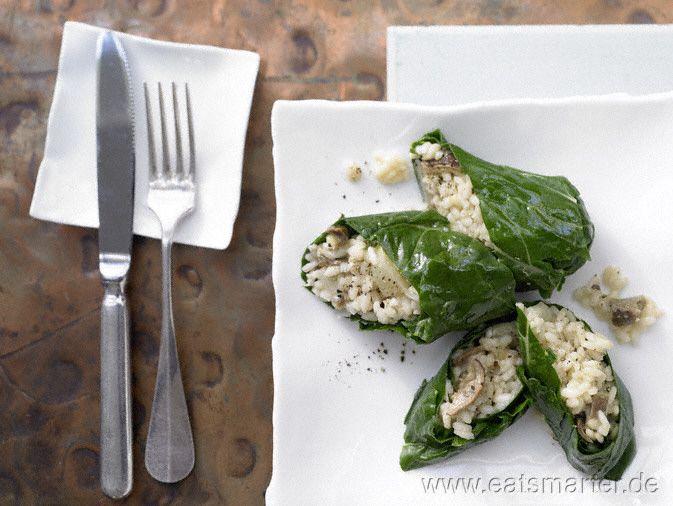 Gefüllte Mangoldrouladen mit Steinpilz-Risotto - smarter - Kalorien: 355 Kcal   Zeit: 60 min.