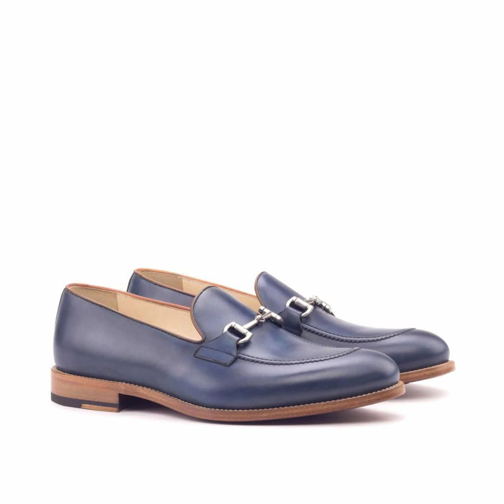 Custom Made Loafers In Navy Blue And Cognac Painted Calf With Black Box Calf Leather 1a Loafers Mens Dress Loafers Custom Design Shoes [ 1024 x 1024 Pixel ]