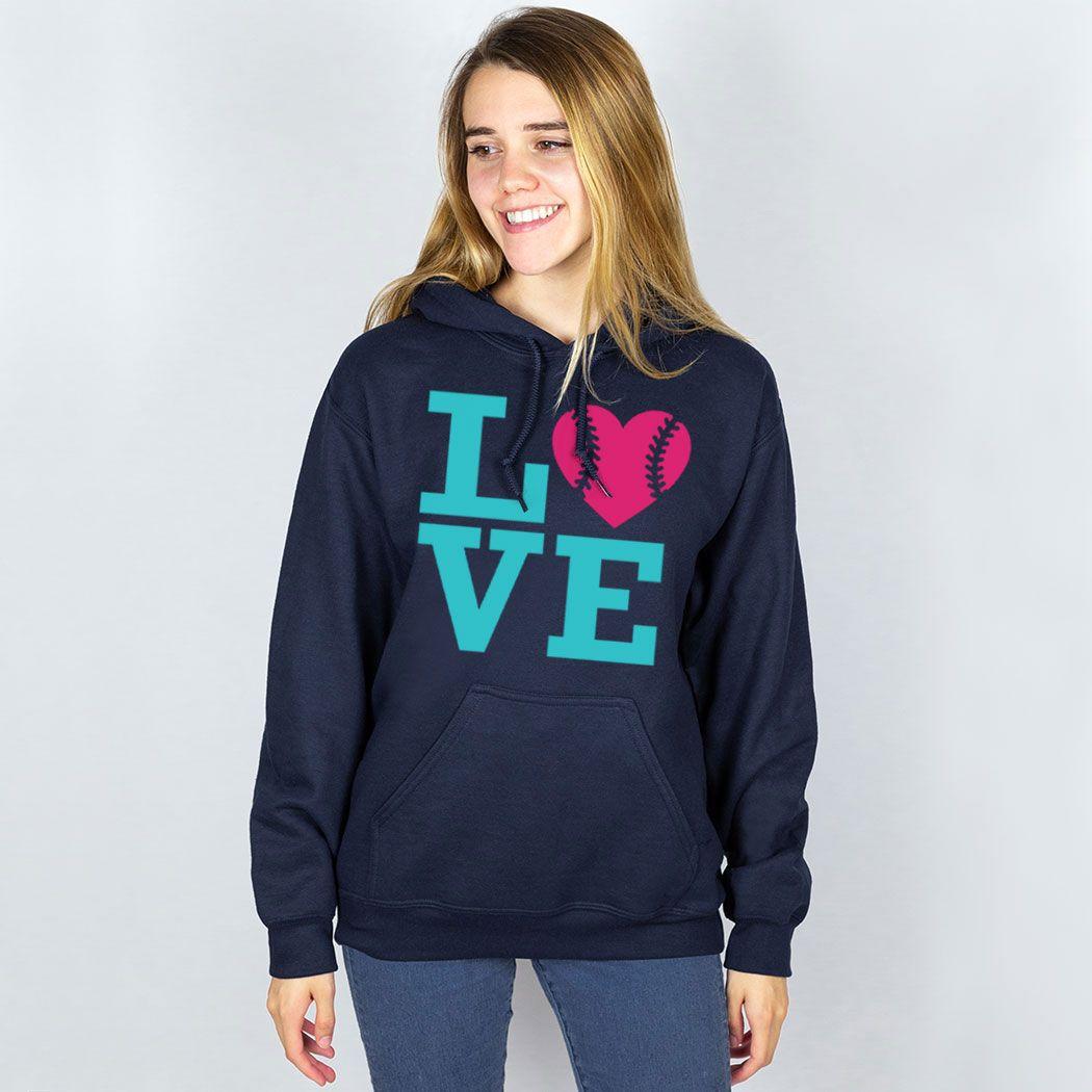 Softball Hooded Sweatshirt – LOVE Softball Pink Teal | Navy, AL, Female | Softball Hoodies