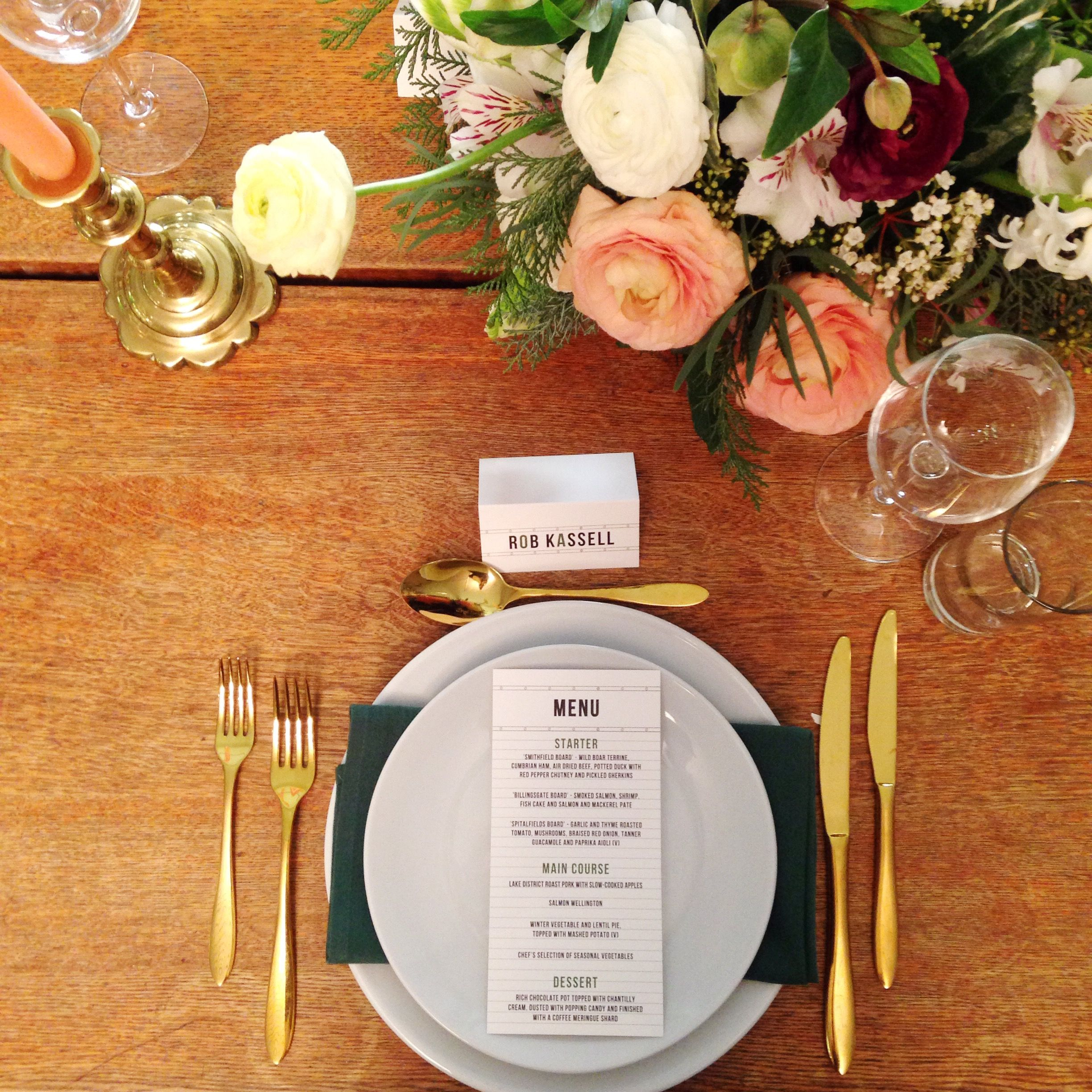 Gold Cutlery And Beautiful Flowers At Tanner Warehouse A Unique Venue Situated On Vibrant Bermondsey Street In South East London This Space Is Unrivalled