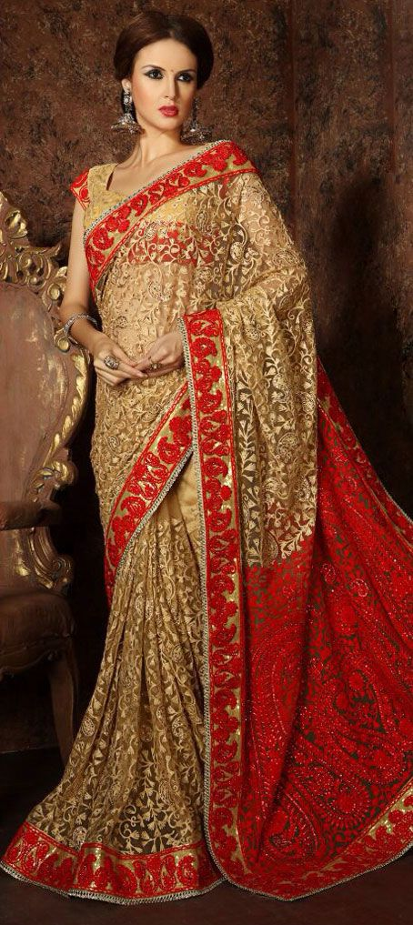 298f96e695ec Net Bridal Saree in Beige and Brown with Thread work in 2019 | ~SilK ...