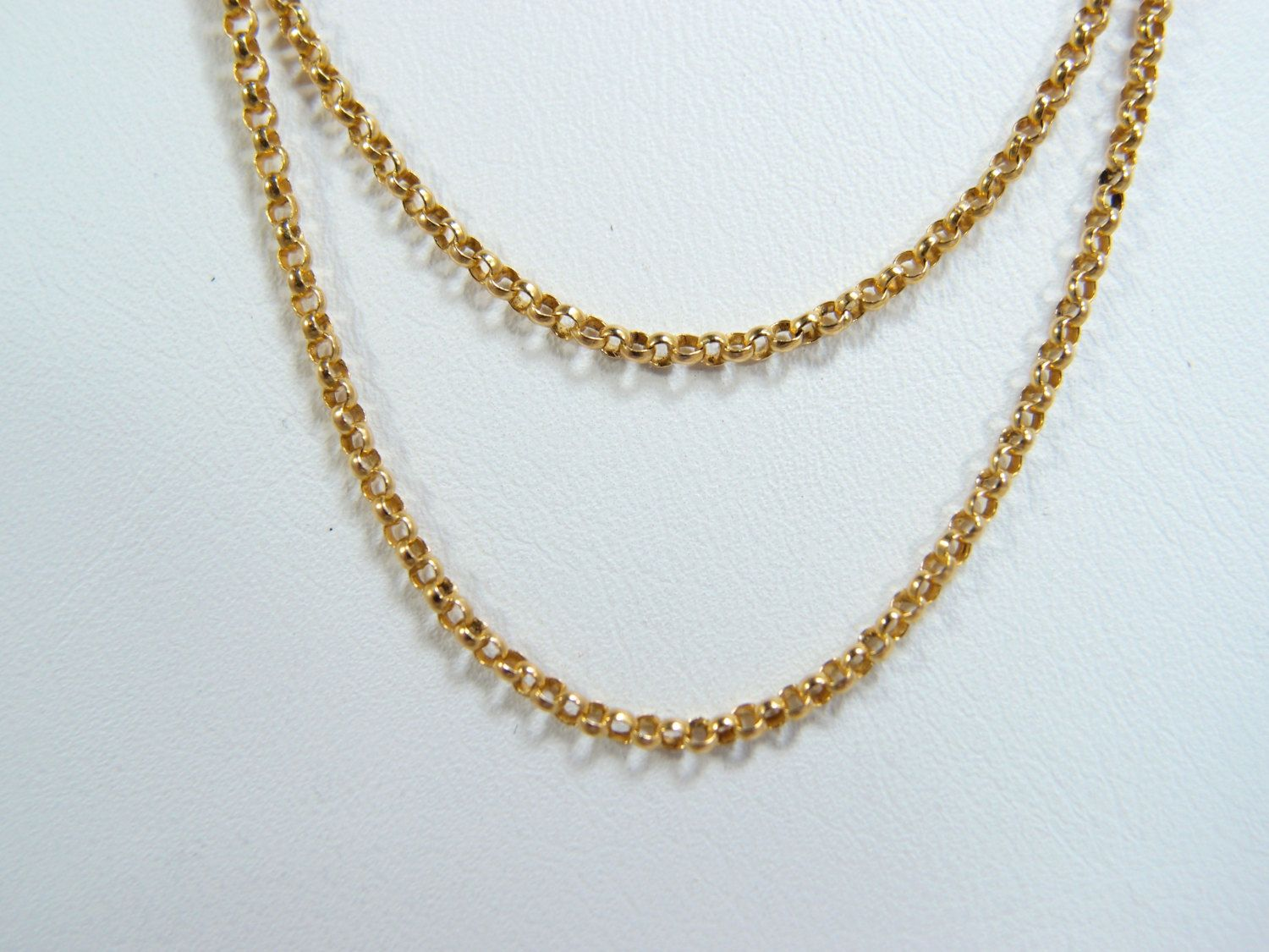 Exceptional double strand 18K solid gold chain Stamped gold double
