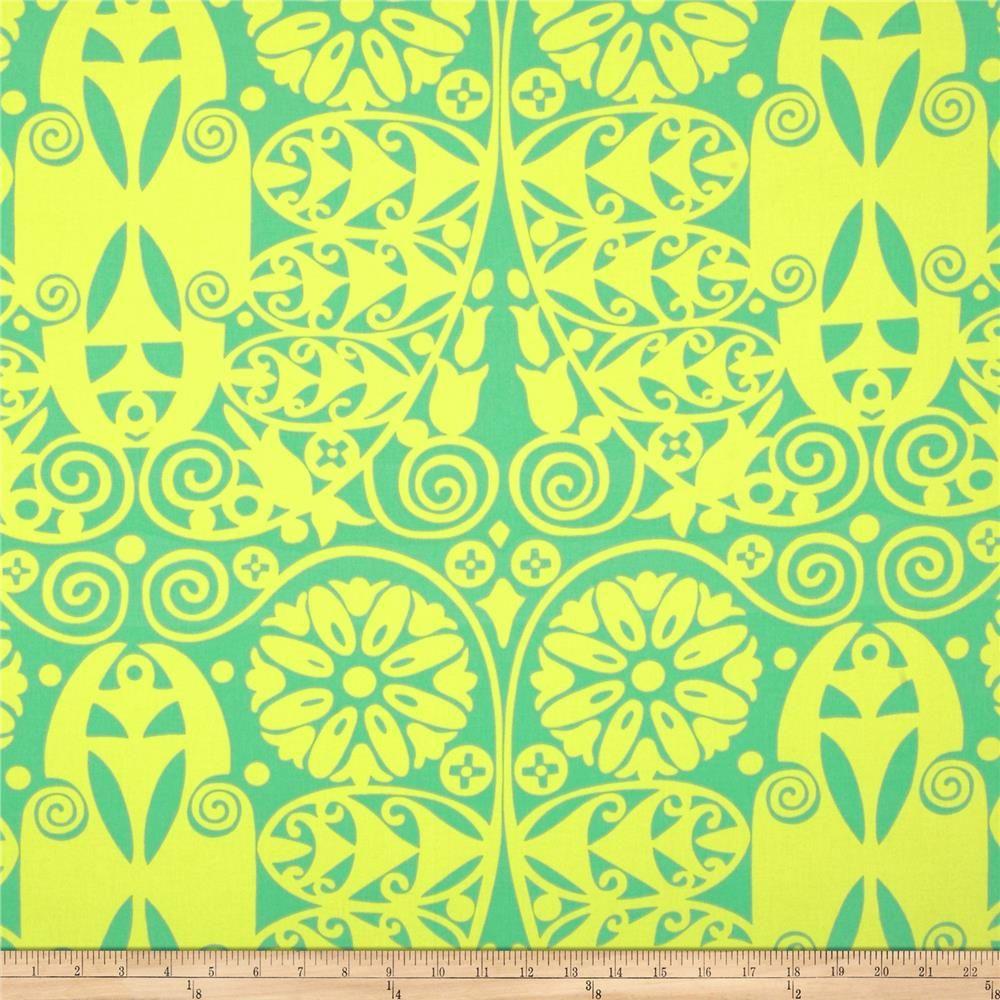 Amy Butler Temple Home Decor Sateen Doors Grass From @fabricdotcom Screen  Printed On Cotton Sateen