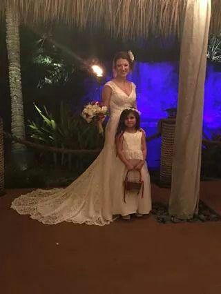 Bride and flowergirl