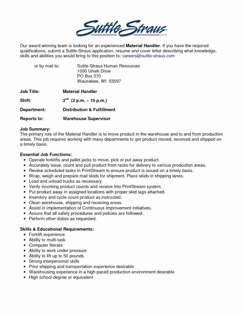 Fedex Package Handler Job Description Resume New Fedex