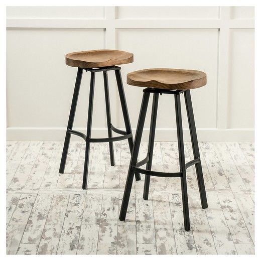 "Albia Swivel 31.5"" Barstool - Natural/Black (Set of 2) - Christopher Knight Home : Target"