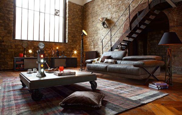 Décoration Intérieure Maison De Campagne, Décoration Style Industriel,  Table Basse Style Industriel, Déco