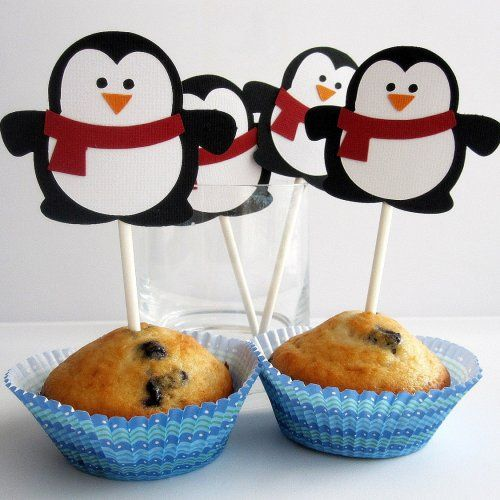 12 Penguin Cupcake toppers , adorable winter Christmas Die cut laye......