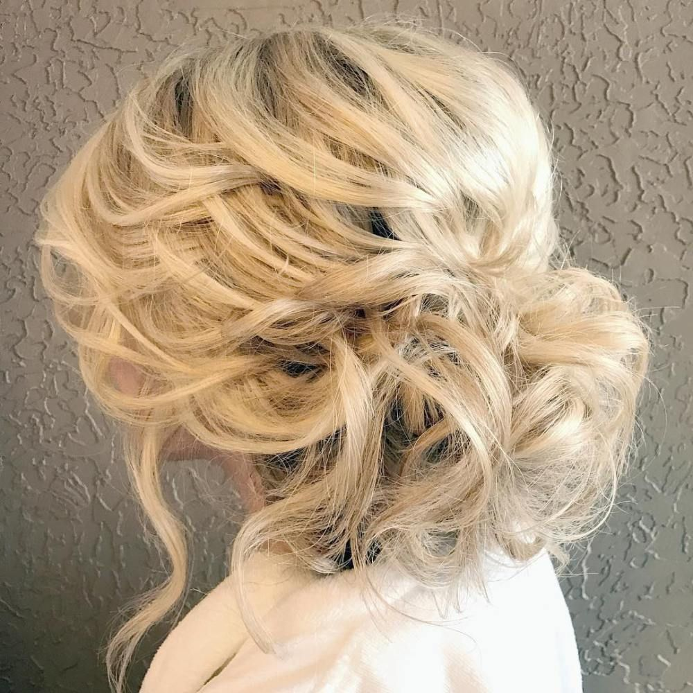 Low Disheveled Blonde Updo Weddinghairstyles Hair Ideas