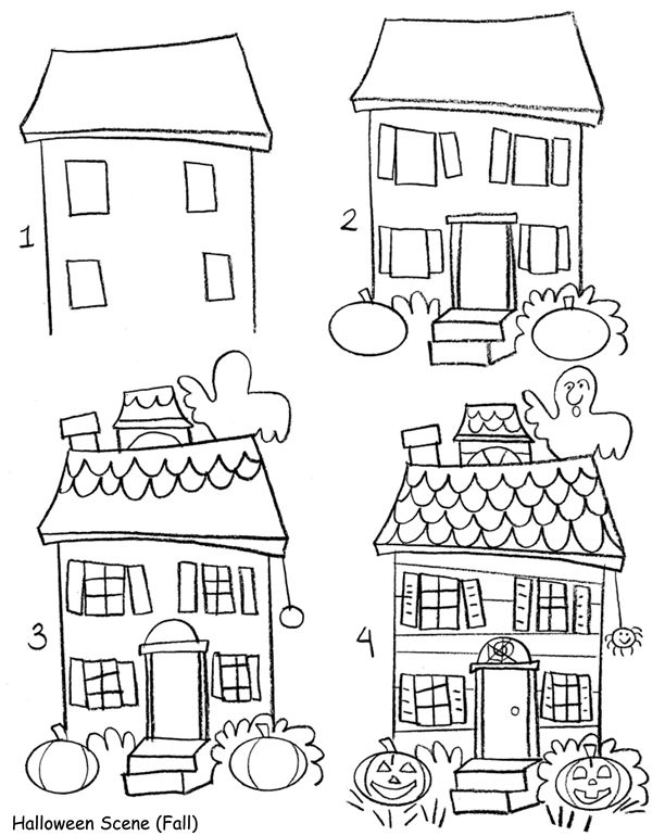 A cute haunted house for children samhain sketches for House drawing easy