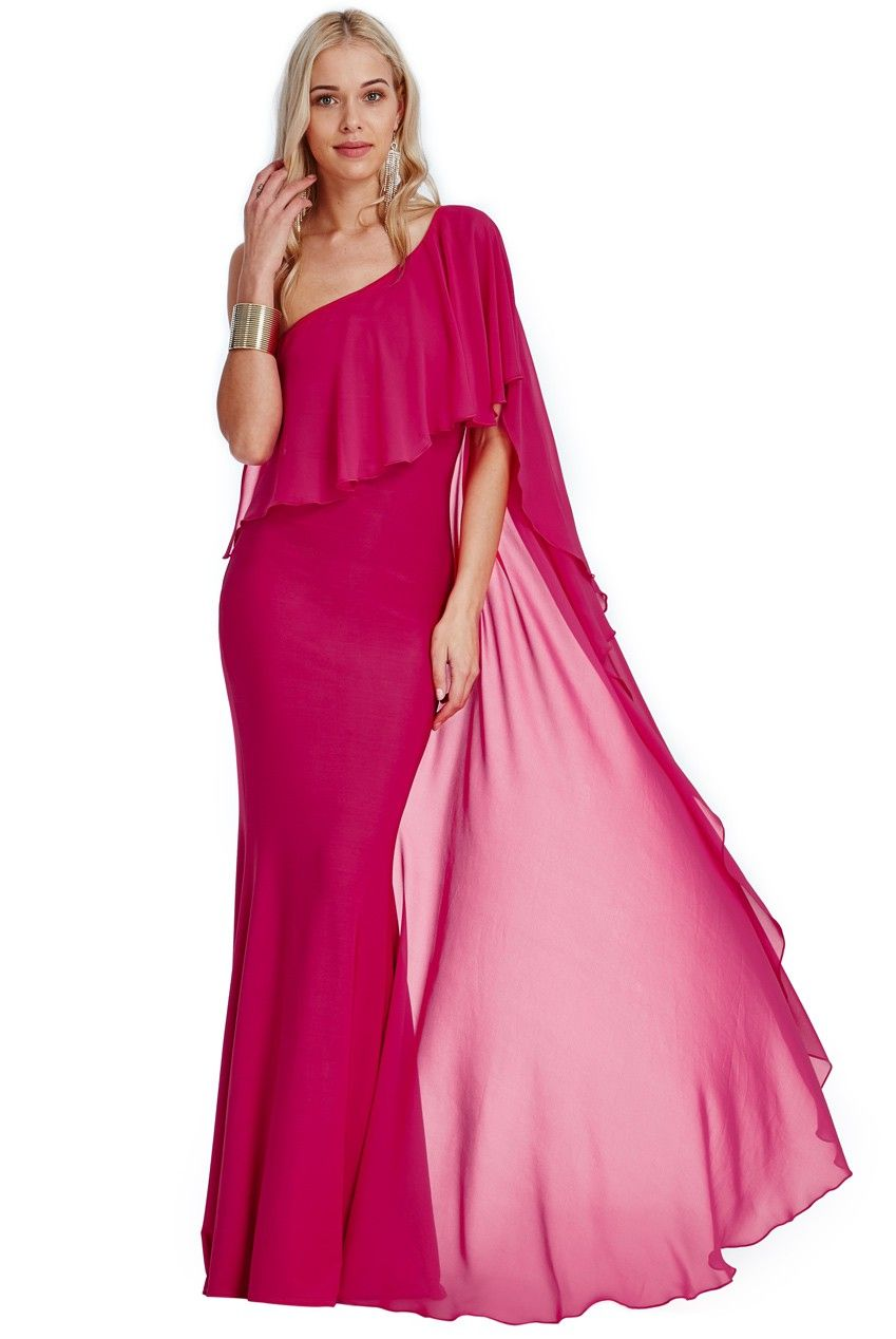One+Shoulder+Maxi+Dress+-+Cerise