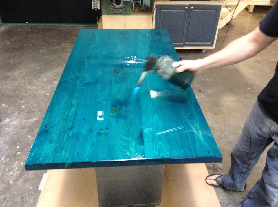 Pine Table Top Stained With Saman Water Based Turquoise