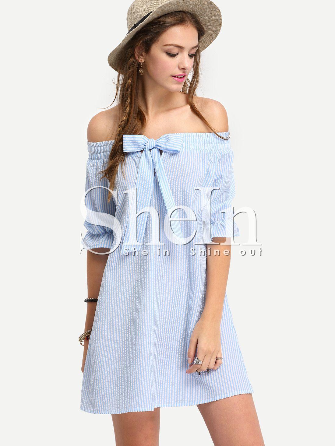 67b7a5fac Vestido+hombro+al+aire+rayas+lazo+holgado+-azul+15.75