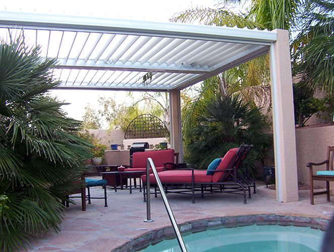 Equinox Louvered Roof   Solar Powered And Motorized Adjustable Patio Cover  System Adjusts For Full Sun
