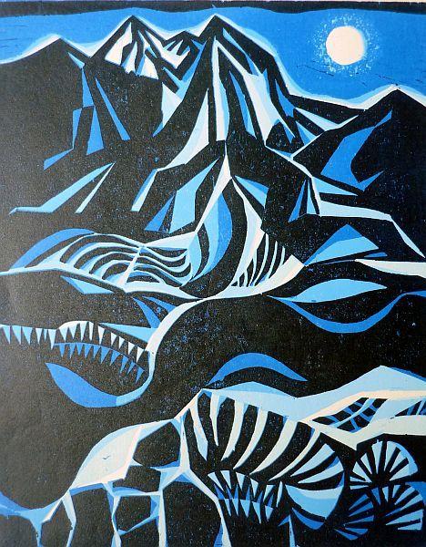 NOSTALGIA V/SIERRA Farbholzschnitt 2010 Bildformat 50 x 40 cm, Papierformat 64,5 x 45,5 cm Auflage 6 Exemplare, signiert und nummeriert