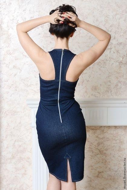 d5cd7facfc0 Платья ручной работы. Ярмарка Мастеров - ручная работа. Купить Джинсовое  платье в стиле pin up. Handmade. Тёмно-синий