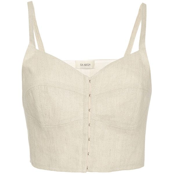 39b9b915ed8ca Isa Arfen Linen Bustier Top ( 330) ❤ liked on Polyvore featuring tops