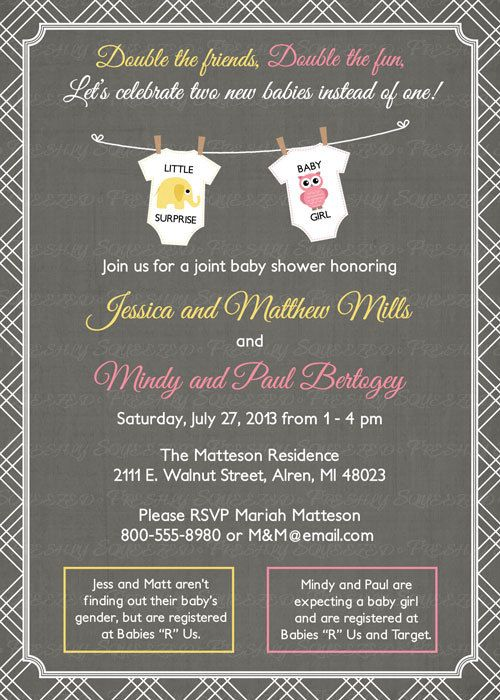 Joint Baby Shower Invitation Onesies Digital Printable File Etsy Double Baby Showers Joint Baby Showers Baby Shower Invitation Wording