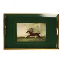 "Wooden Green Tray with ""Race Horse"" 