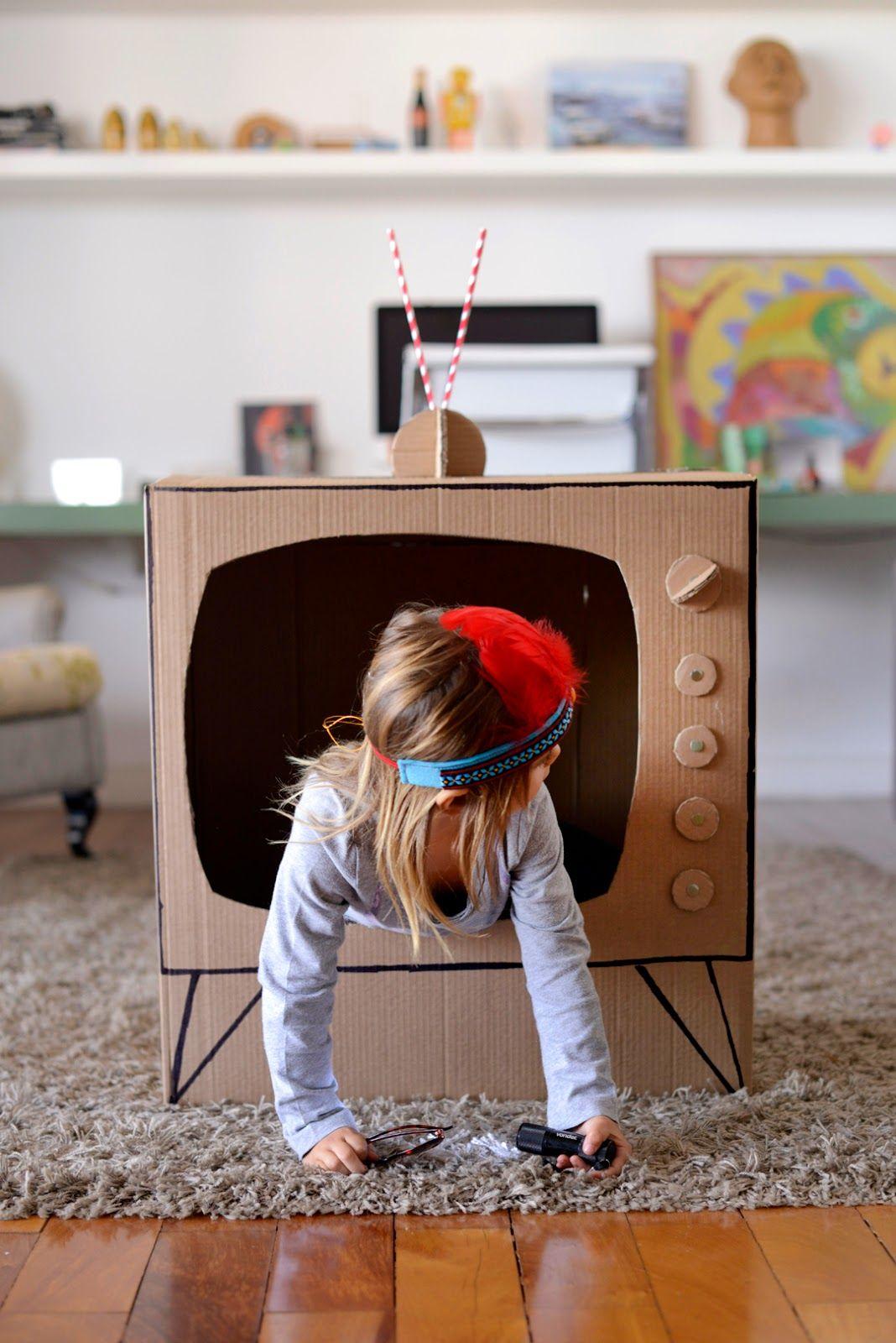 Make a DIY cardboard TV for hours