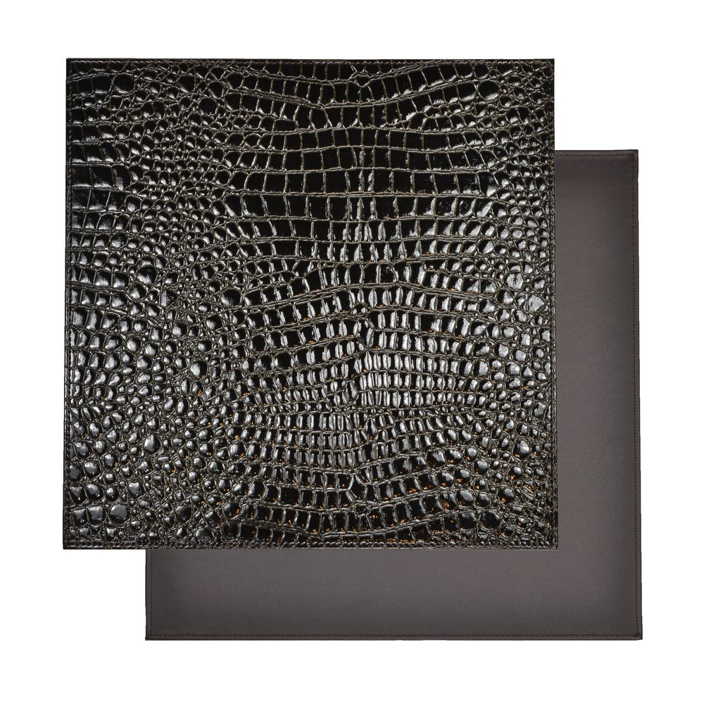 Overstock Com Tips Ideas: Reversible Faux Leather Crocodile Black Placemat (Set Of 2