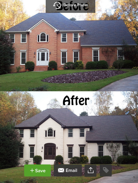Brick House Before And After Painted White Brick Exterior House Painted Brick House Home Exterior Makeover
