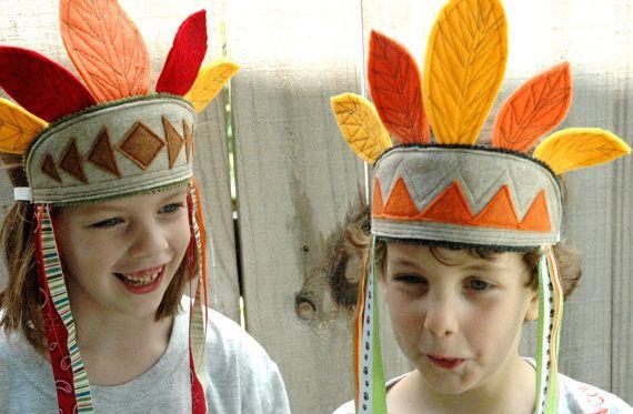 Native American Eco Felt Feather Headdress For Kids - Yellow, Orange via Etsy