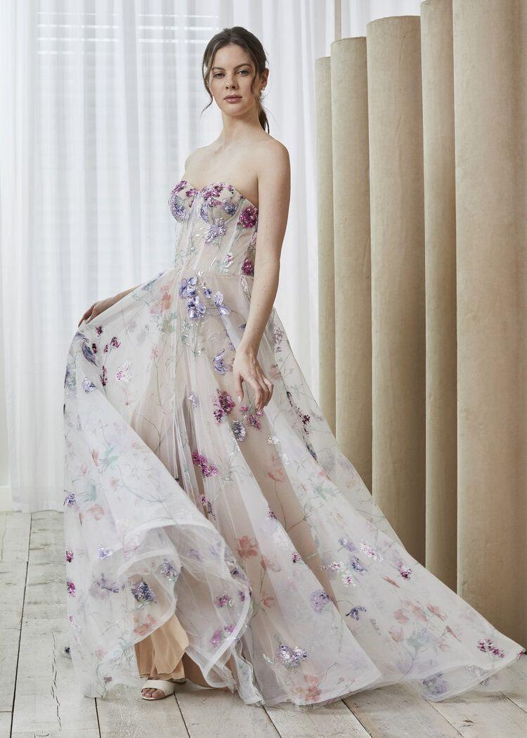 Willa Dress 7000 65 Savin London In 2021 Floral Dress Formal Hand Painted Wedding Dress Floral Wedding Dress [ 1050 x 750 Pixel ]