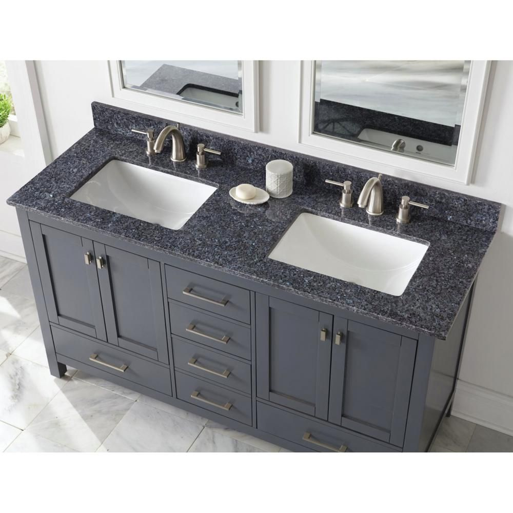 Home Decorators Collection 61 In W Granite Double Sink Vanity Top In Blue Pearl With White Trough Sinks 64905 The Home Depot Double Sink Vanity Top Double Sink Vanity Blue Granite Countertops