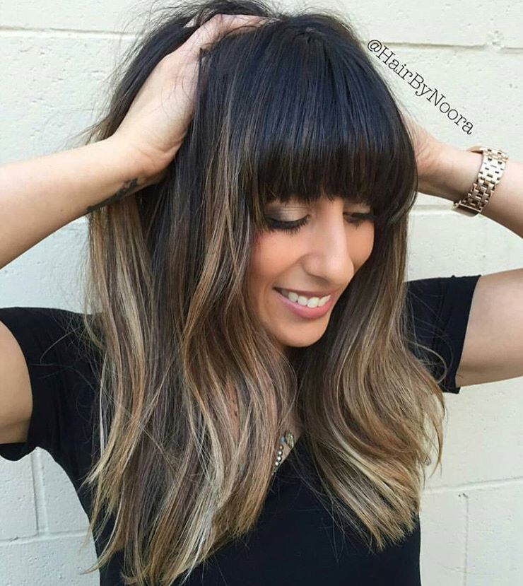 Dark Cool Ombre W Bangs Haircuts For Long Hair Layered