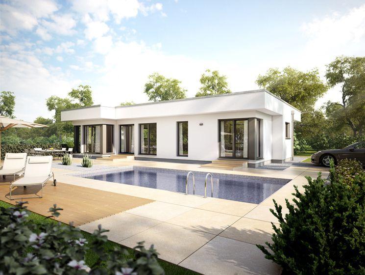 Bungalow haus modern im bauhausstil mit flachdach terrasse und pool fertighaus architektur - Bungalow moderne architektur ...