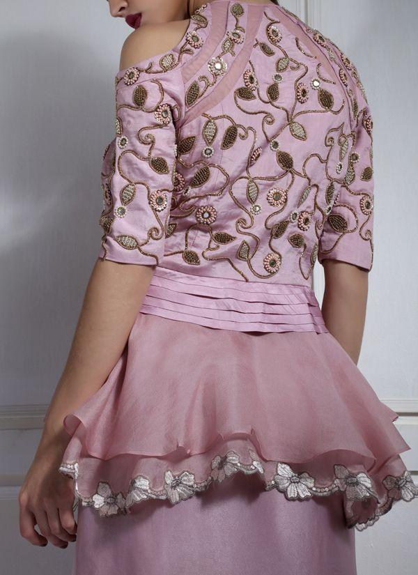 7df525a3948 Indian Fashion Designers - Nidhi Singh - Contemporary Indian Designer - Peplum  Top with Drape Skirt