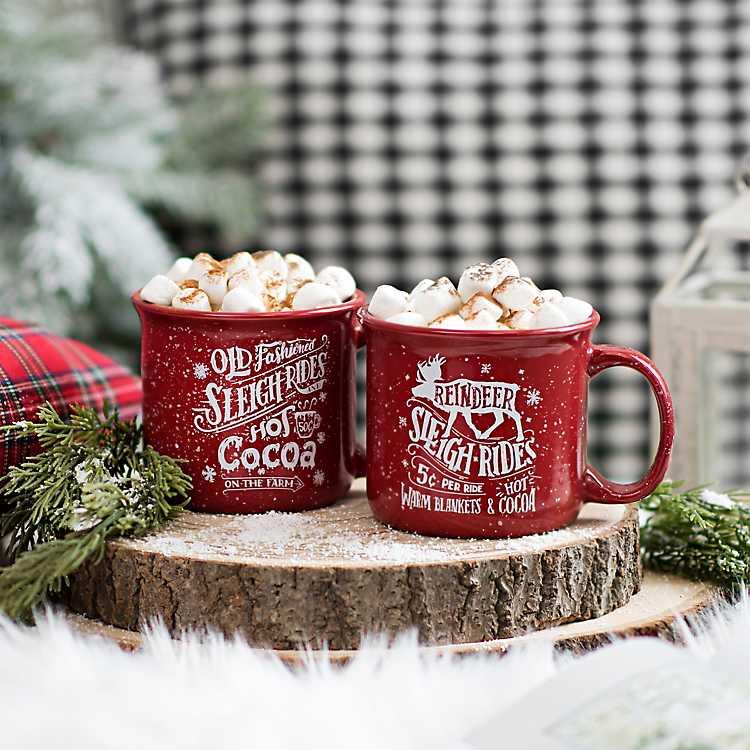 Sleigh Ride Hot Cocoa Mugs Set Of 2 Kirklands Sleigh Ride Christmas Mugs Mugs