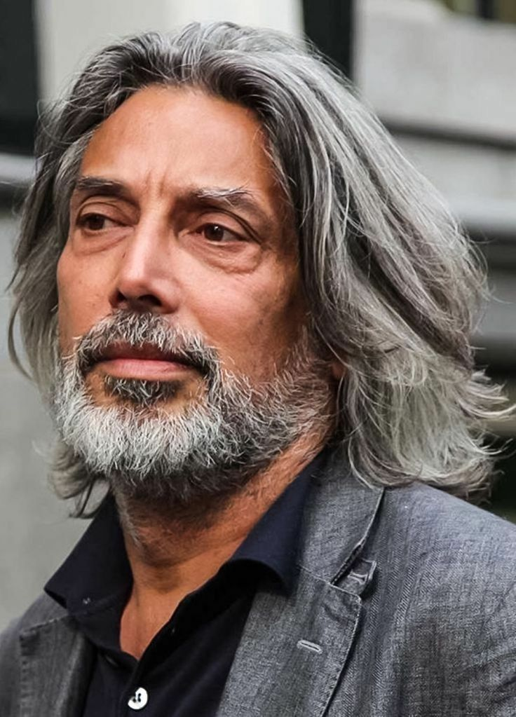 Pin by Ponley Reth on Long haired men style Grey hair