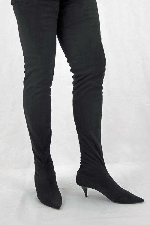 0ffc2c38f43 Schrittlanger Velour Overknee Stiefel mit kleinem Stiletto Absatz