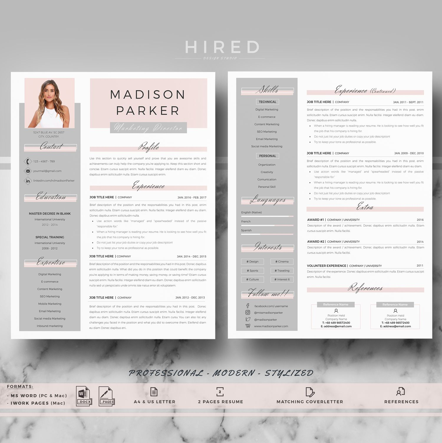 Creative Modern Resume Cv Template For Word And Pages Etsy Resume Design Professional Cv Template Resume Design
