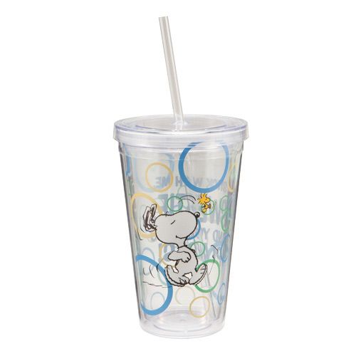 Insulated Double Wall 18oz Plastic Tumbler With Lid Straw Peanuts Dancing Snoopy Acrylic Cups Cool Travel Mugs Mug Cup