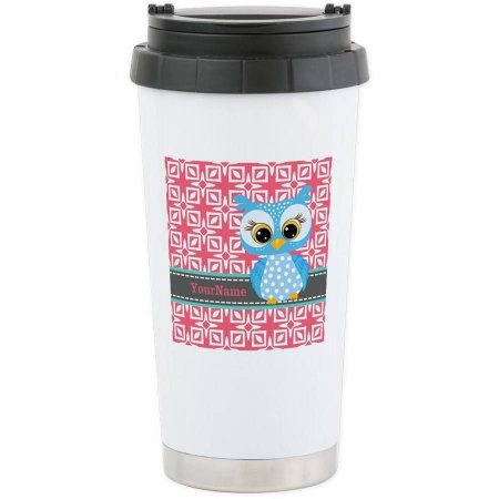 Cafepress Personalized Beautiful Teal Owl Personalized Stainless Steel Travel Mug, Multicolor